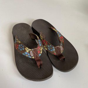 Chaco Womens Floral Thong Flip Flop Sandals Shoes
